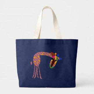 Animal Bags: Polka dot giraffe Large Tote Bag
