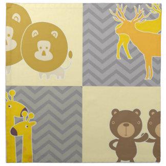 Animal Bear, Lion, Giraffe and Deer - Grey, Yellow Printed Napkins