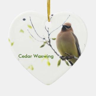 Animal Bird Cedar Waxwing Ceramic Heart Ornament