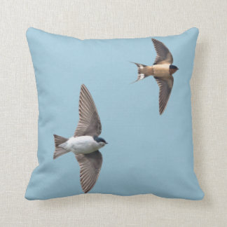 Animal Bird Tree Swallow and Barn Swallow Throw Pillow