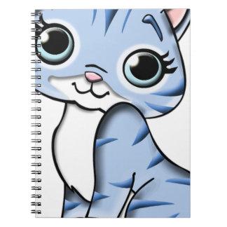 Animal Blue Cartoon Cat Feline Pet Notebook