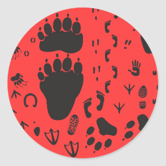 animal box footmark classic round sticker