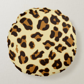 Animal | Brown leopard skin print round pillow