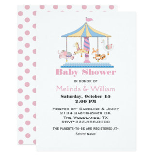 Animal Carousel Baby Girl Shower Invitation