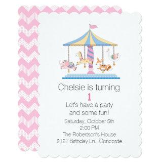 Animal Carousel Babys First Birthday Invitation