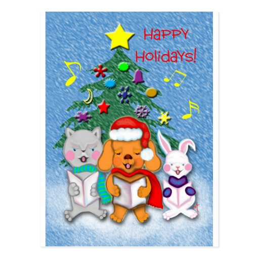 Animal Chorus Happy Holidays Gift Products Post Card