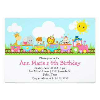 Animal Circus Train Kids Birthday in Pink Card