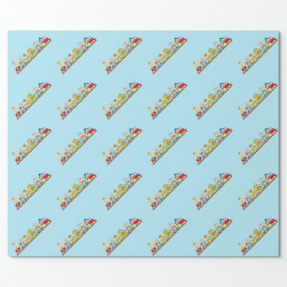 Animal Circus Train Kids Birthday in Red Wrapping Paper