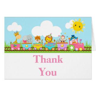 Animal Circus Train Kids Birthday Thank You Card