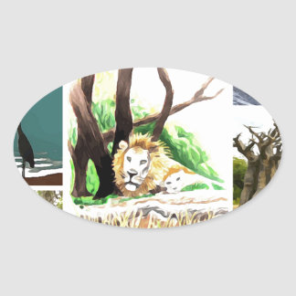 Animal Collage Oval Sticker