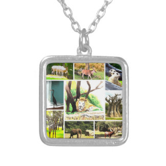 Animal Collage Silver Plated Necklace
