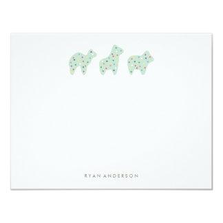 "Animal Cookie Parade Kid's Stationery - Mint 4.25"" X 5.5"" Invitation Card"
