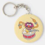 Animal Crashing Through Drums Basic Round Button Keychain