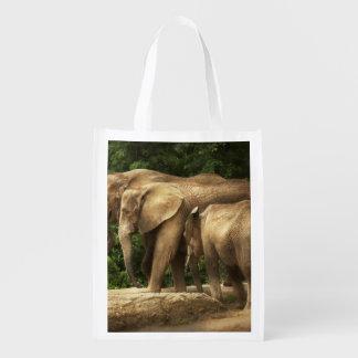 Animal - Elephant - Tight knit family Reusable Grocery Bag