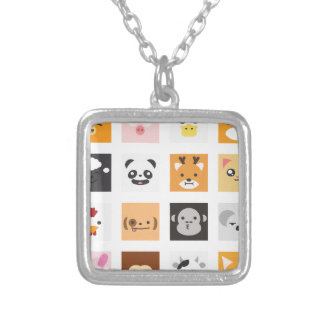 Animal Faces Silver Plated Necklace