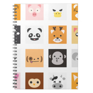 Animal Faces Spiral Notebook