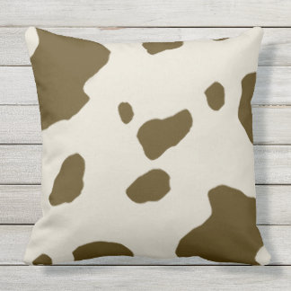Animal Faux Fur Print Brown Cow Spots Throw Pillow