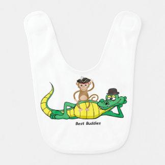 Animal Friends Monkey and Alligator Baby Bib