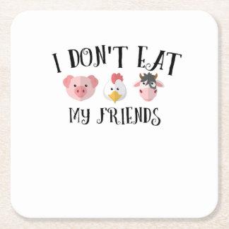 Animal Friends Vegan Vegetarian Vegetable Gifts Square Paper Coaster