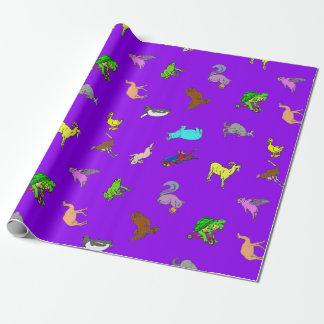 Animal Fun Purple Wrapping Paper