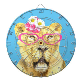 Animal funny cute zoo lioness watercolor dartboard
