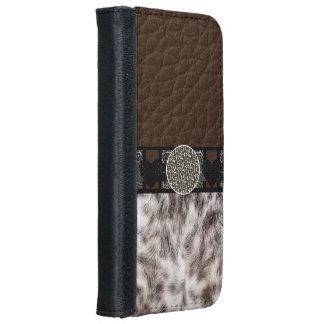 Animal Fur Heart Leopard Monogram iPhone 6 Wallet Case