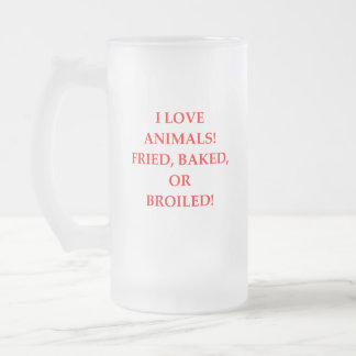 animal hater frosted glass beer mug