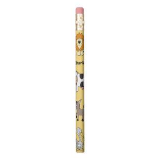 Animal illustrations custom name kid's pencils