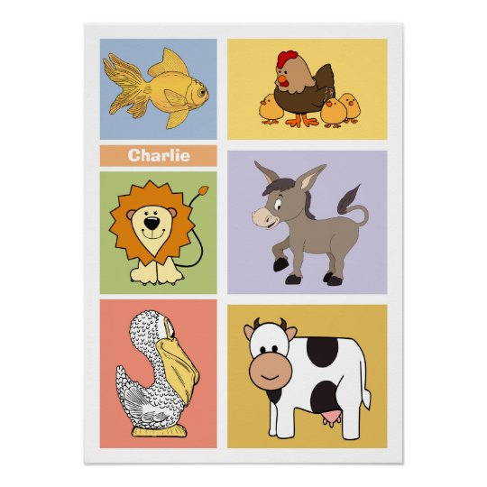 Animal Illustrations custom name kid's poster
