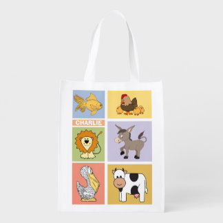 Animal Illustrations custom name reusable bag Reusable Grocery Bags