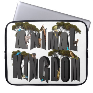 Animal Kingdom Logo With Animals, 15 inch Laptop Sleeve
