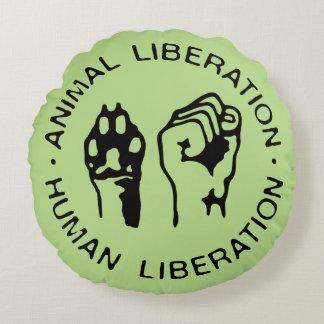 Animal Liberation Human Liberation Round Pillow