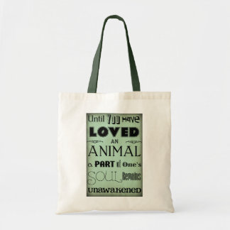 Animal Love Quote Teal Blue Tote Bag