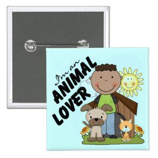 Animal Lover African American Boy Tshirts Pins
