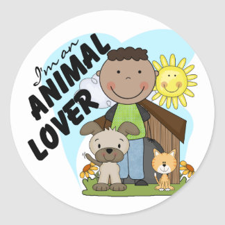 Animal Lover African American Boy Tshirts Classic Round Sticker