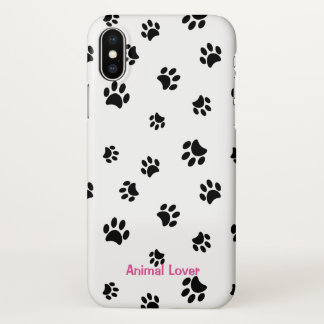 Animal Lover Black Paw Prints iPhone X Case