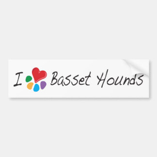 Animal Lover_I Heart Basset Hounds Bumper Sticker