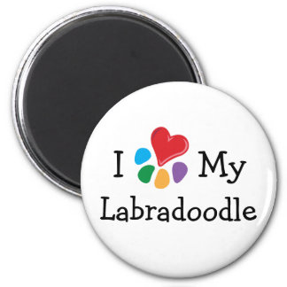 Animal Lover_I Heart My Labradoodle 2 Inch Round Magnet