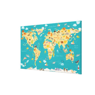 Animal Map of the World For Kids Canvas Print
