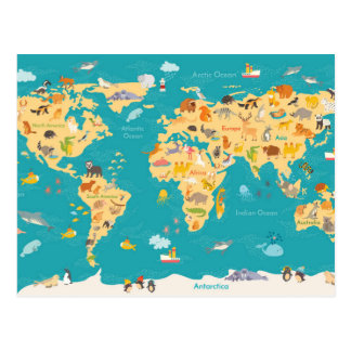 Animal Map of the World For Kids Postcard