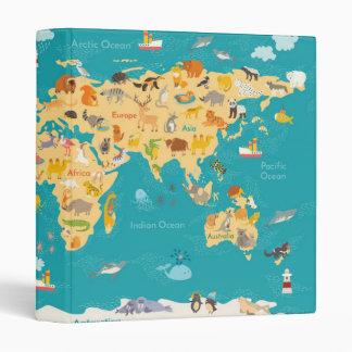 Animal Map of the World For Kids Vinyl Binder