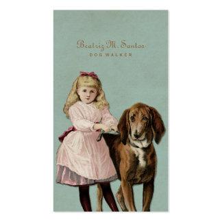 Animal mignon de marche de cool de fille de chien carte de visite standard