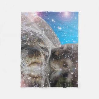 animal,Mother and baby seal Fleece Blanket