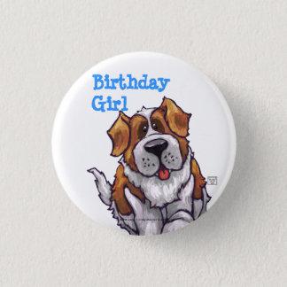 Animal Parade St. Bernard Dog Birthday Girl Button