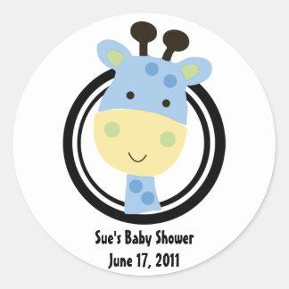 Animal park Giraffe baby shower sticker/label Classic Round Sticker