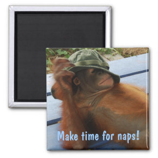 Animal Party Pooper Nap Time Square Magnet