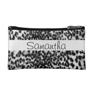 Animal pattern, black, white, monogram makeup bag