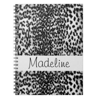 Animal pattern, black, white, monogram spiral note books