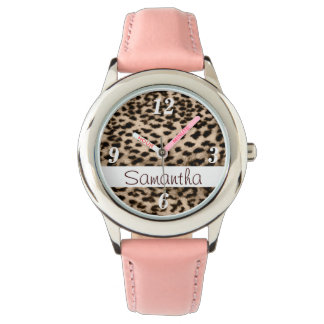 Animal pattern, brown, pink, monogram watch