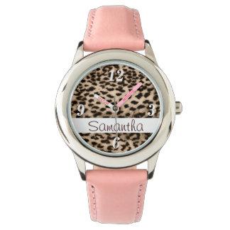 Animal pattern, brown, pink, monogram wrist watch